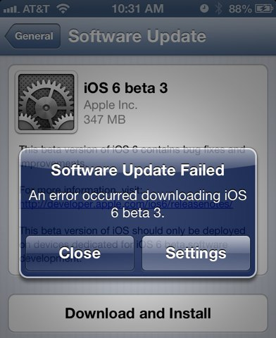 iOS 6 beta 3 update bugs