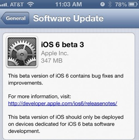 iOS 6 beta 3 download