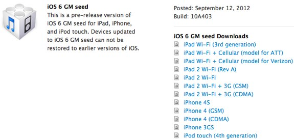 iOS 6 golden master download