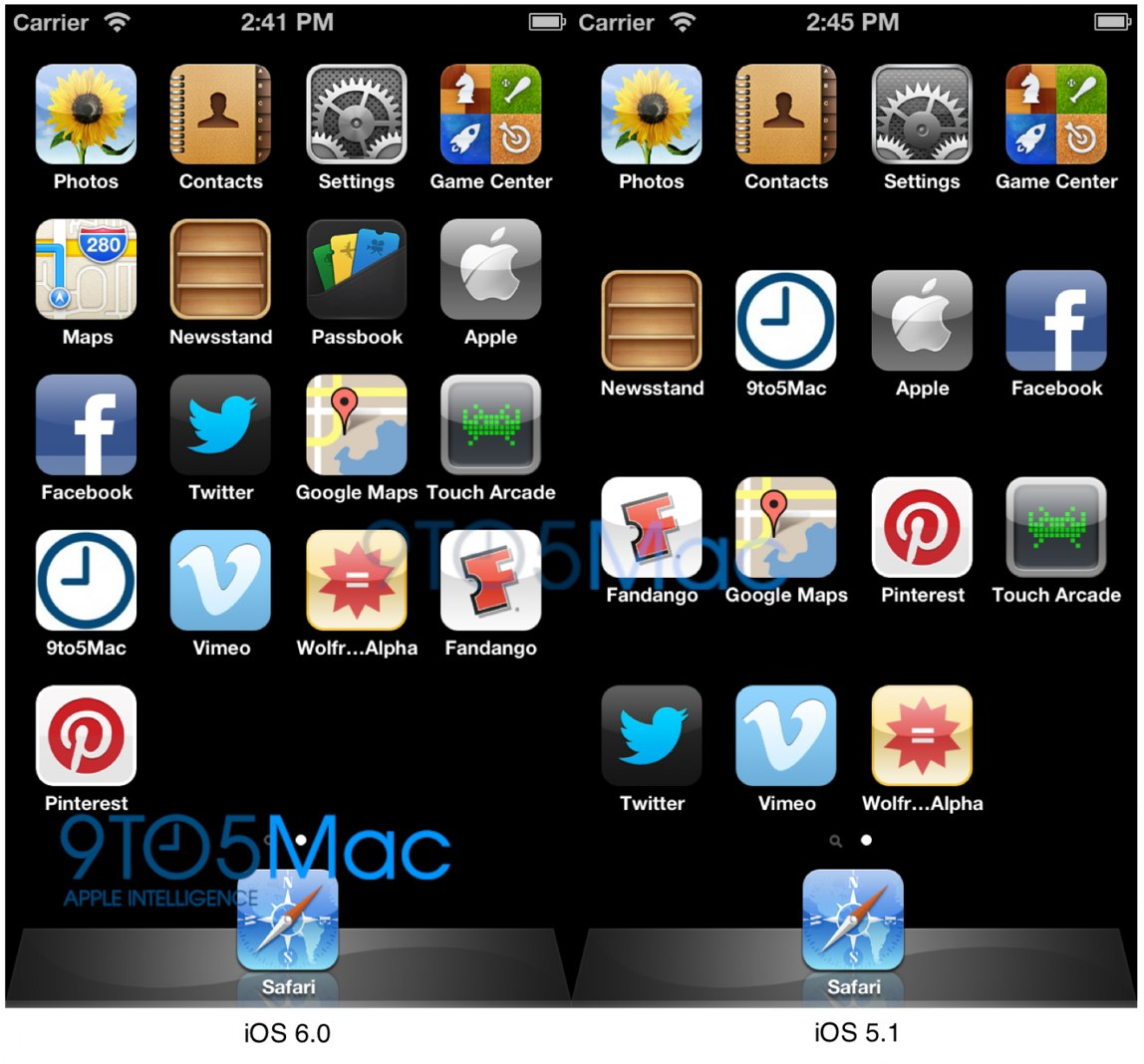 iOS 6 extra icon row