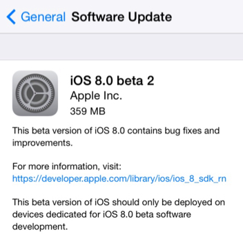iOS 8 beta 2 download