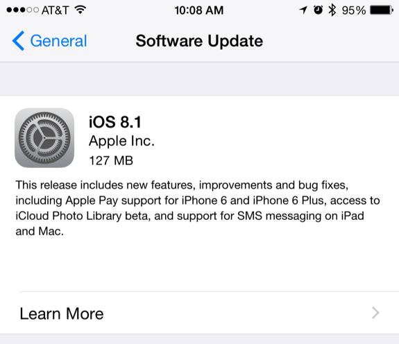 iOS 8.1 update
