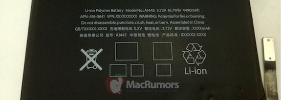 Leaked iPad Mini Battery 2