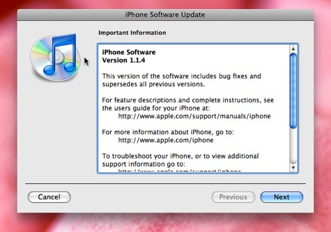 iPhone 1.1.4 firmware