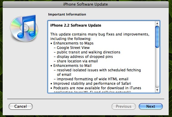 iPhone 2.2 firmware