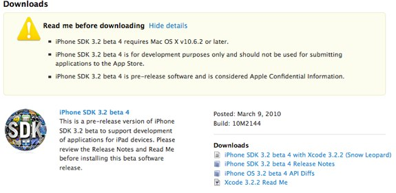 iPHone OS 3.2 beta 4