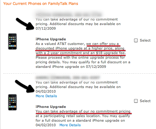 iPhone 3GS upgrade pricing