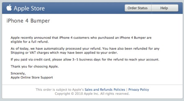 Apple Bumper Case refunds