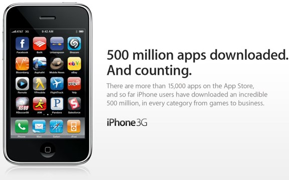 iPhone 500 million downloads
