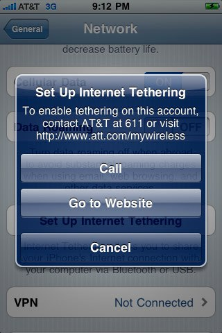 iPhone OS 4.0 AT&T tethering