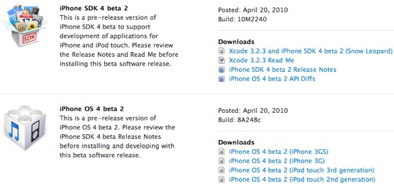 iPhone OS 4.0 beta 2 sdk