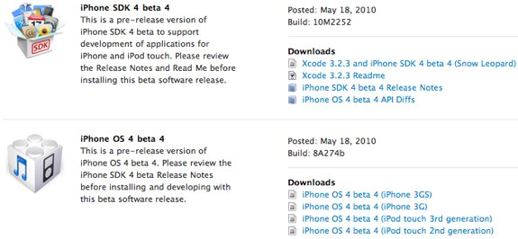 iPhone OS 4.0 beta sdk 4