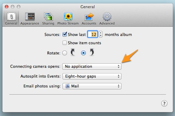 iPhoto general settings