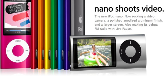 iPod nano shoots video