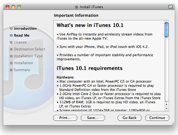 iTUnes 10.1 airplay ios 4.2