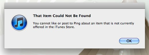 Apple Ping error itunes