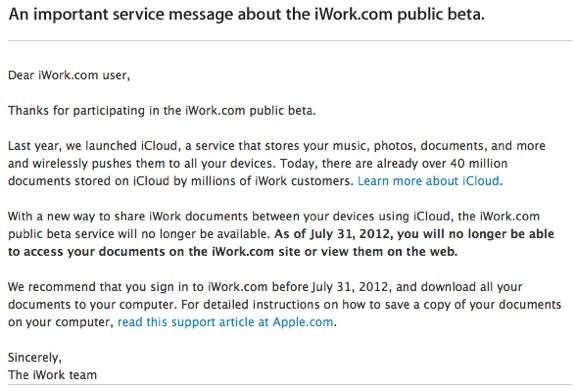 iWork Beta ends icloud