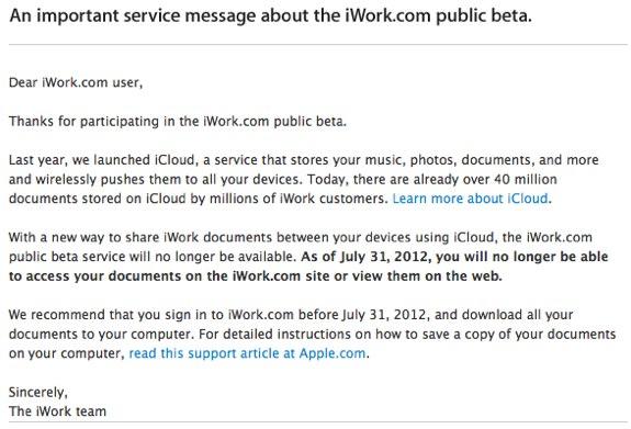 iWork Beta ends icloud
