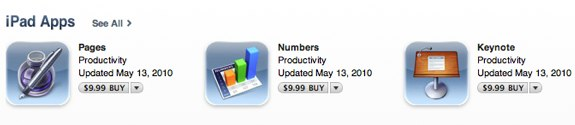 iWork iPad Pages Numbers Keynote 1.1