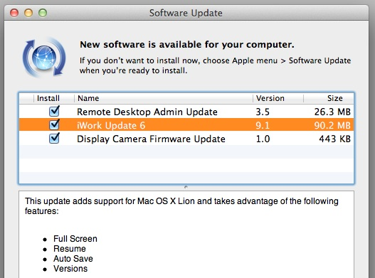 iWork Lion update 6