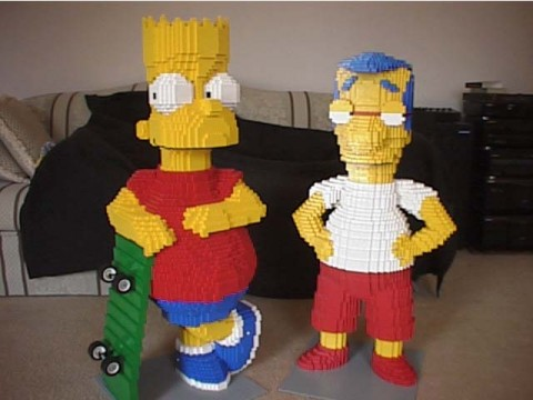 Bart Milhouse Lego Statue