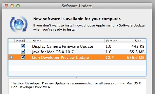 Lion Developer Preview 4 update
