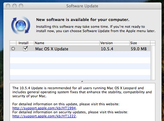 Mac OS X 10.5.4