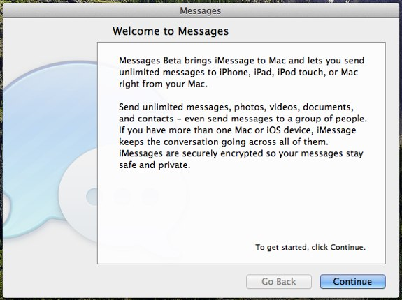 Messages beta mac