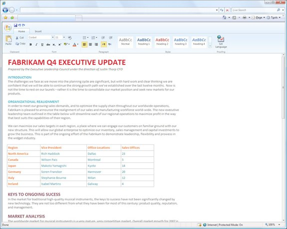 Microsoft Word 2010 web app