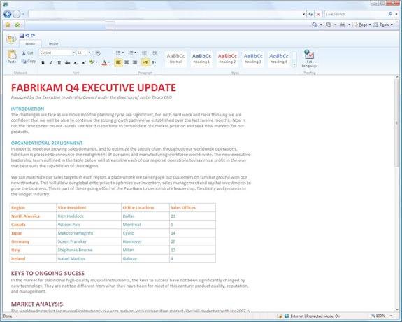 Microsoft Word 2010 web app