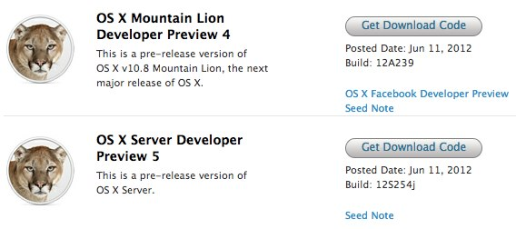 OS X Mountain Lion Developer Preview 4 download