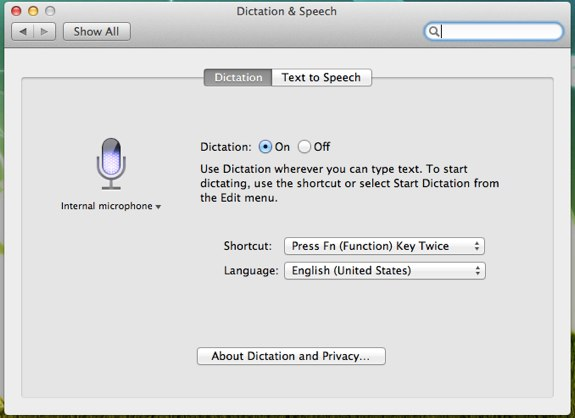 Dictation Mountain Lion
