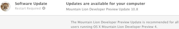 Mountain Lion Developer Preview 4 udpate