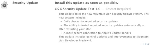 Mountain Lion Security Update