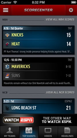 ESPN Score Center iOS app version 3 (2)