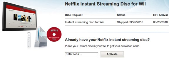 Netflix Instant Streaming Wii Disc