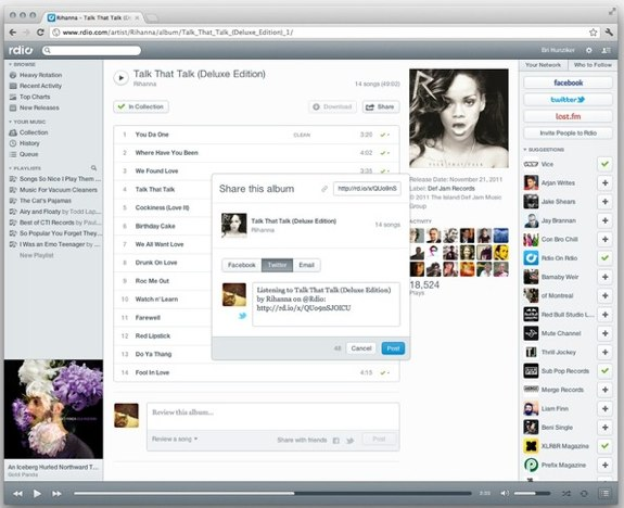 New Rdio design