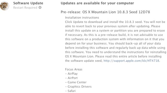 OS X Mountain Lion 10.8.3 12d78 download
