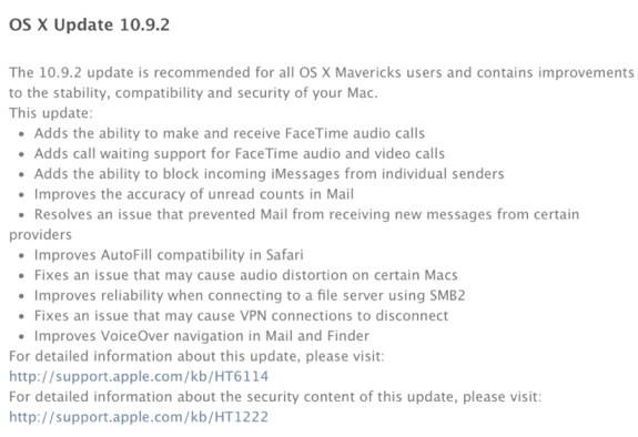 OS X Mavericks 10.9.2 update