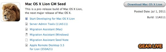OS X Lion GM Seed 11a511