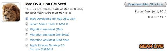 OS X Lion GM Seed 11a511
