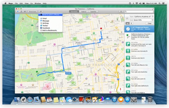 Apple OS X Mavericks Maps