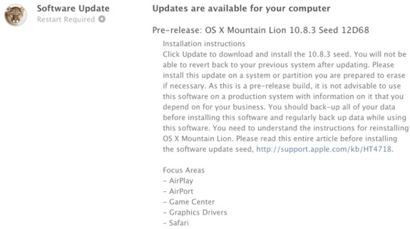 OS X Mountain Lion 10.8.3 12D68