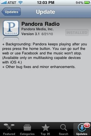 Pandora iOS 4