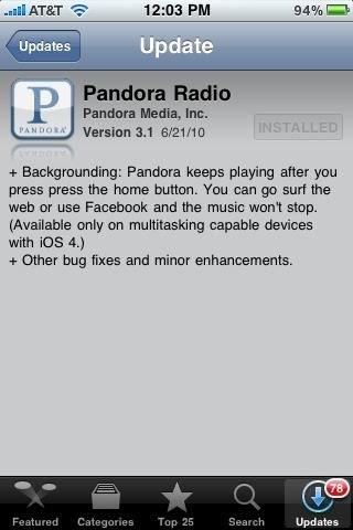 Pandora iOS 4