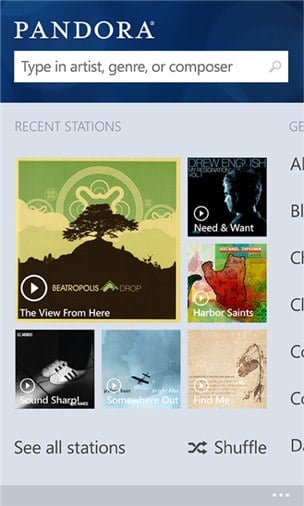 Pandora for Windows Phone