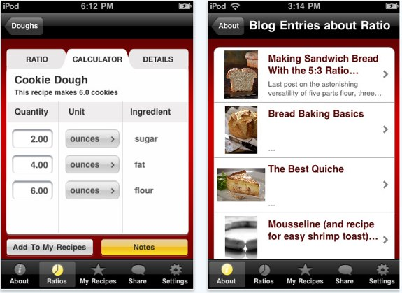 Ratio cooking for iPhone and iPod touch
