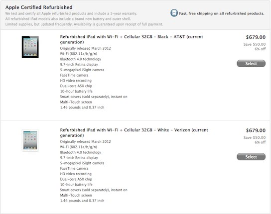 Refurbished new iPad 3