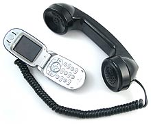 Retro Phone Handset connected to cell phone