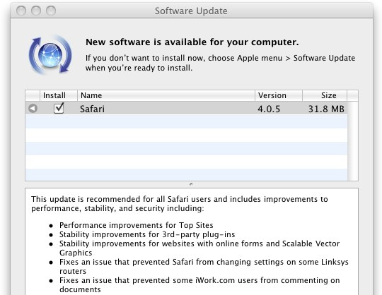 Safari 4.0.5